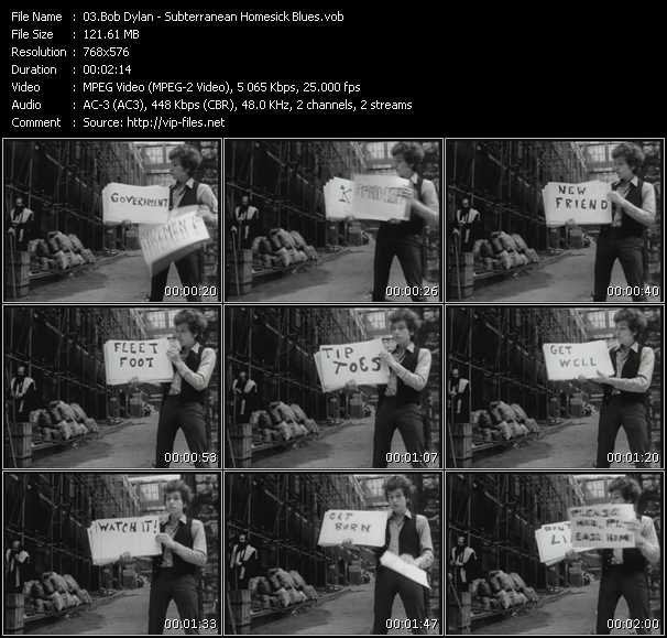 video Subterranean Homesick Blues screen