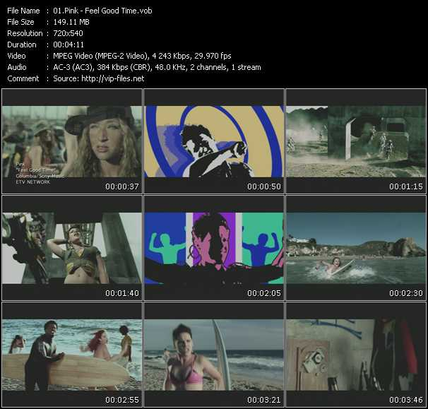 download Pink « Feel Good Time » video vob