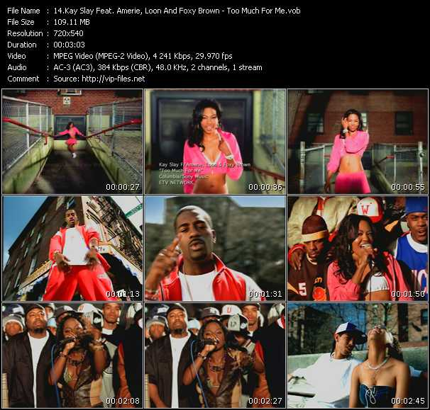 download Dj Kay Slay (Dj Kayslay) Feat. Amerie Feat. Loon And Foxy Brown « Too Much For Me » video vob