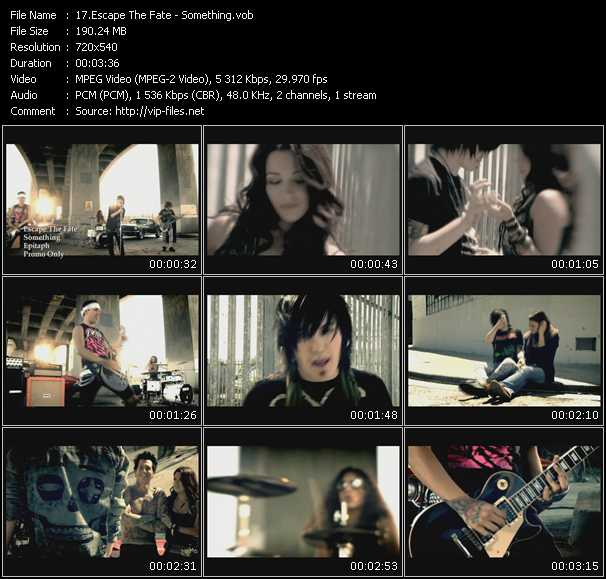 download Escape The Fate « Something » video vob