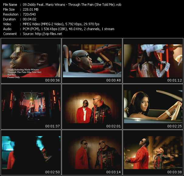 download P. Diddy (Puff Daddy) Feat. Mario Winans « Through The Pain (She Told Me) » video vob