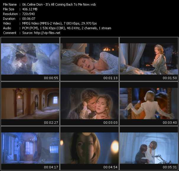 Celine Dion Ultimate Box Vobs Celine Dion Videoclip It S All Coming Back To Me Now