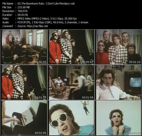 download Boomtown Rats « I Don't Like Mondays » video vob