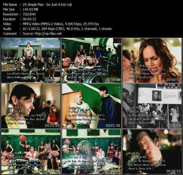download Simple Plan « Im Just A Kid » video vob