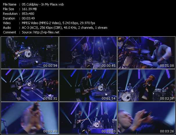 download Coldplay « In My Place » video vob
