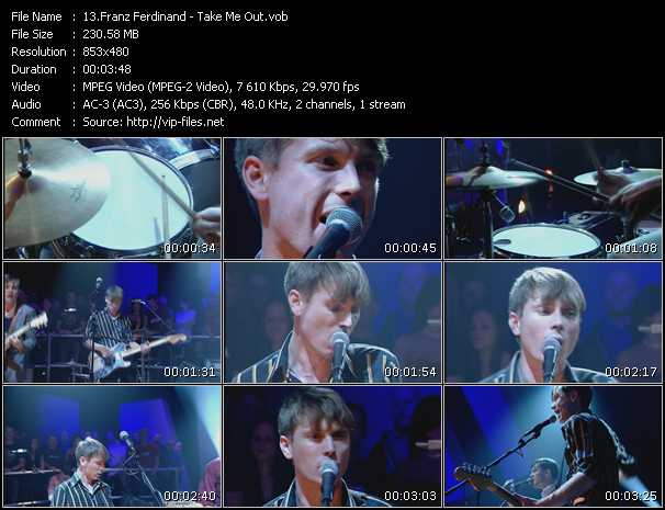 download Franz Ferdinand « Take Me Out » video vob