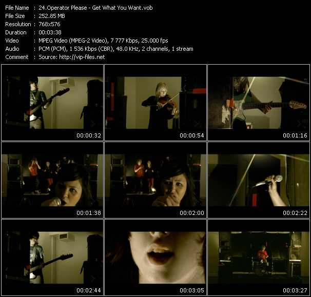 download Operator Please « Get What You Want » video vob