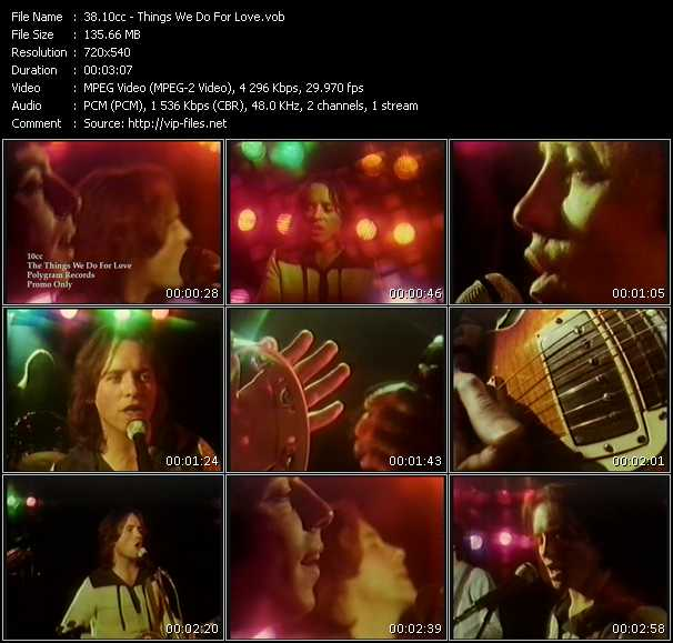 download 10cc « Things We Do For Love » video vob