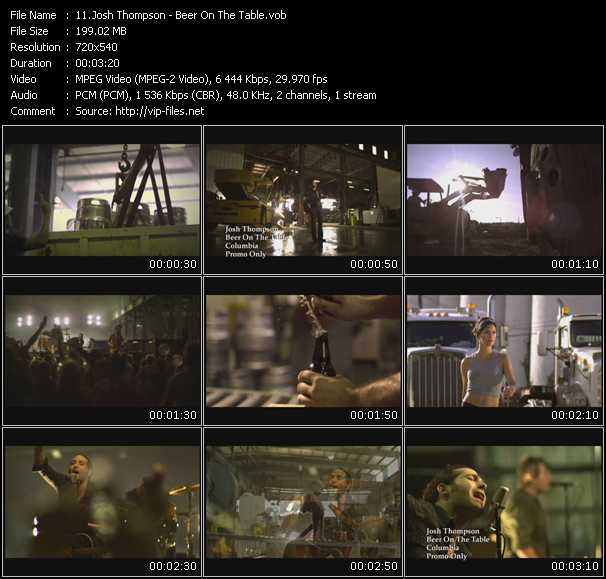 download Josh Thompson « Beer On The Table » video vob