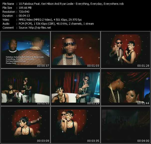 download Fabolous Feat. Keri Hilson And Ryan Leslie « Everything, Everyday, Everywhere » video vob