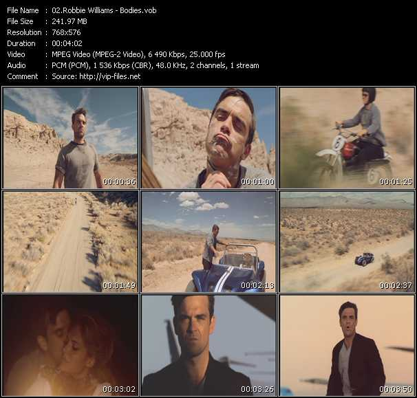 download Robbie Williams « Bodies » video vob
