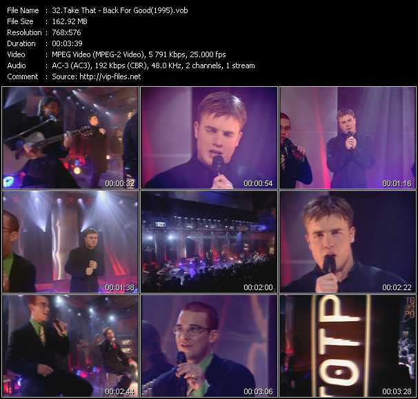 video Back For Good (From Top Of The Pops 1995) screen