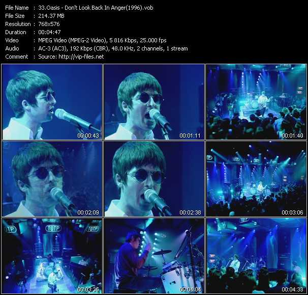 video Don't Look Back In Anger (From Top Of The Pops 1996) screen
