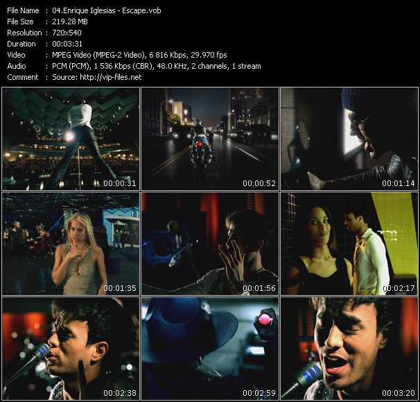 download Enrique Iglesias « Escape » video vob