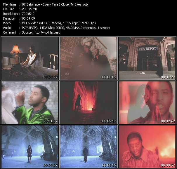 download Babyface « Every Time I Close My Eyes » video vob