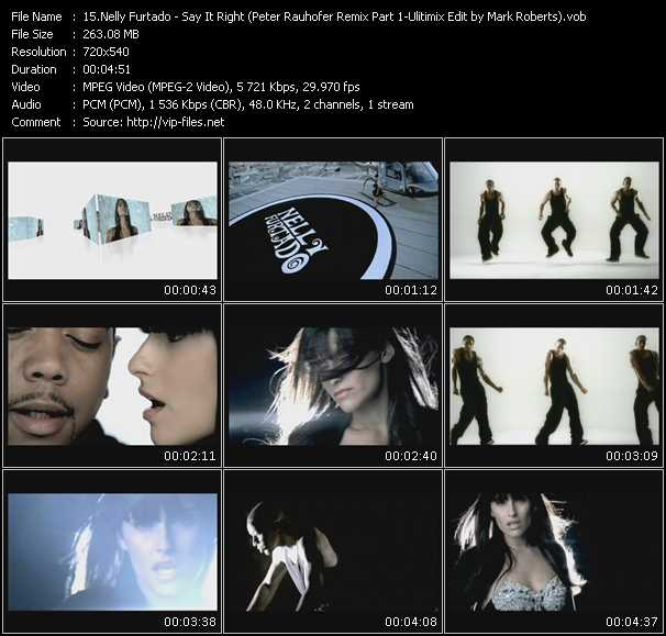 download Nelly Furtado « Say It Right (Peter Rauhofer Remix Part 1-Ulitimix Edit by Mark Roberts) » video vob