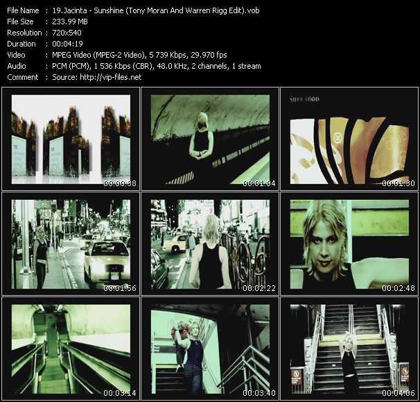 download Jacinta « Sunshine (Tony Moran And Warren Rigg Edit) » video vob