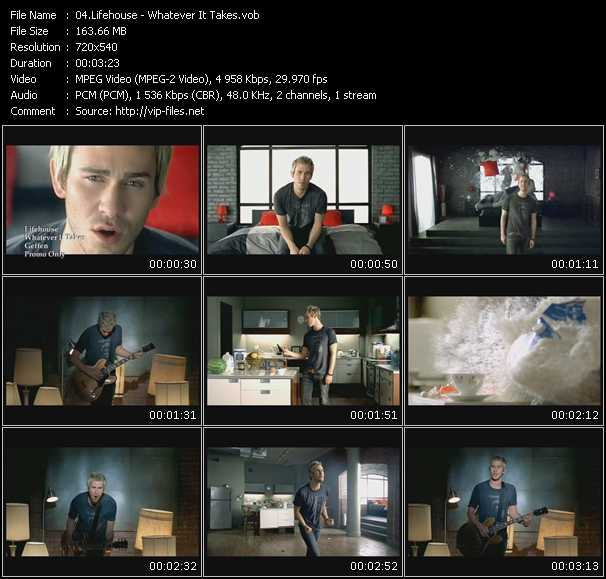 download Lifehouse « Whatever It Takes » video vob