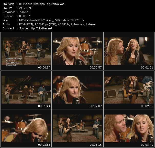 download Melissa Etheridge « California » video vob