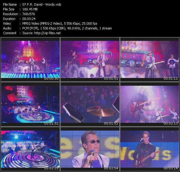 download F.R. David « Words (Live From Moskau) » video vob