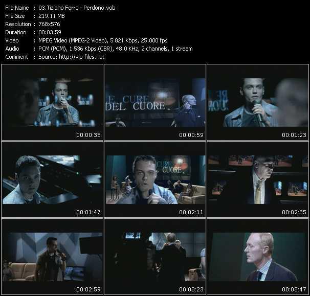 download Tiziano Ferro « Perdono » video vob