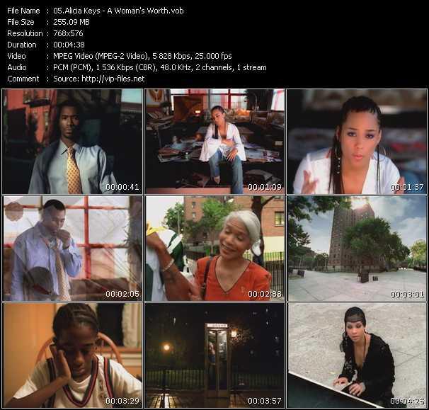 download Alicia Keys « A Woman's Worth » video vob