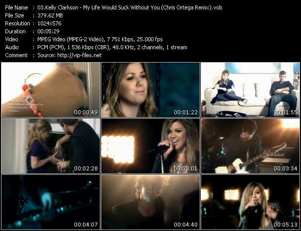 download Kelly Clarkson « My Life Would Suck Without You (Chris Ortega Remix) » video vob
