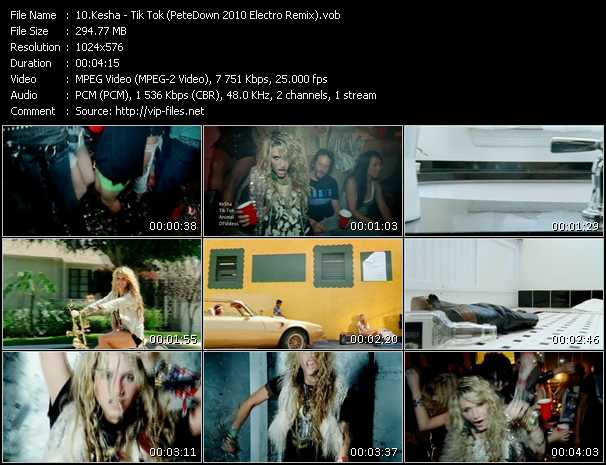 download Kesha « Tik Tok (PeteDown 2010 Electro Remix) » video vob