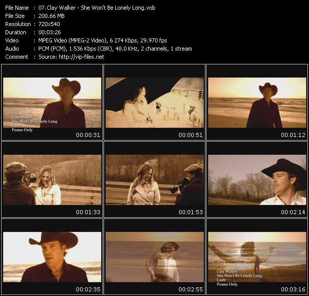 download Clay Walker « She Won't Be Lonely Long » video vob