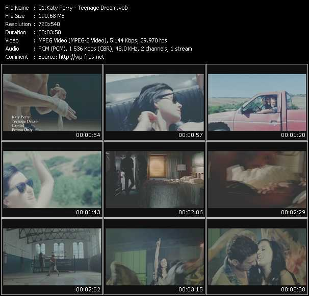download Katy Perry « Teenage Dream » video vob