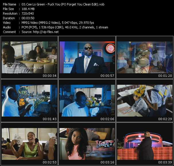 download Cee Lo Green « Fuck You (PO Forget You Clean Edit) » video vob