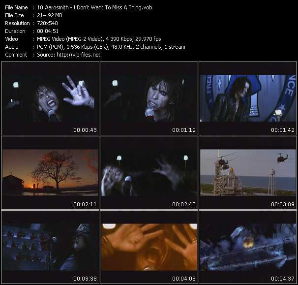 download Aerosmith « I Don't Want To Miss A Thing » video vob