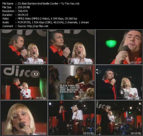 download Alain Barriere And Noelle Cordier « Tu T'en Vas » video vob