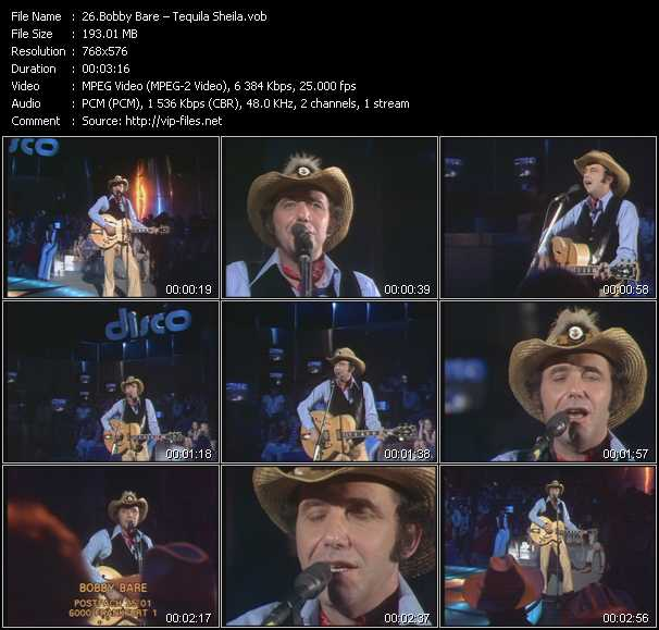 download Bobby Bare « Tequila Sheila » video vob