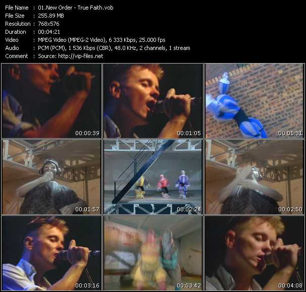 download New Order « True Faith » video vob