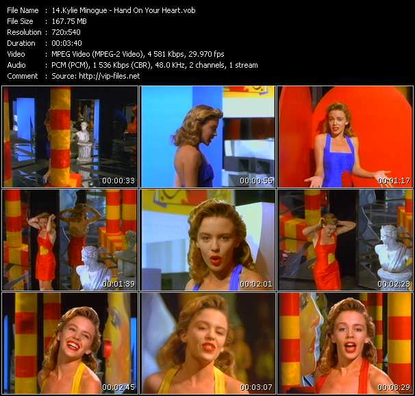 download Kylie Minogue « Hand On Your Heart » video vob