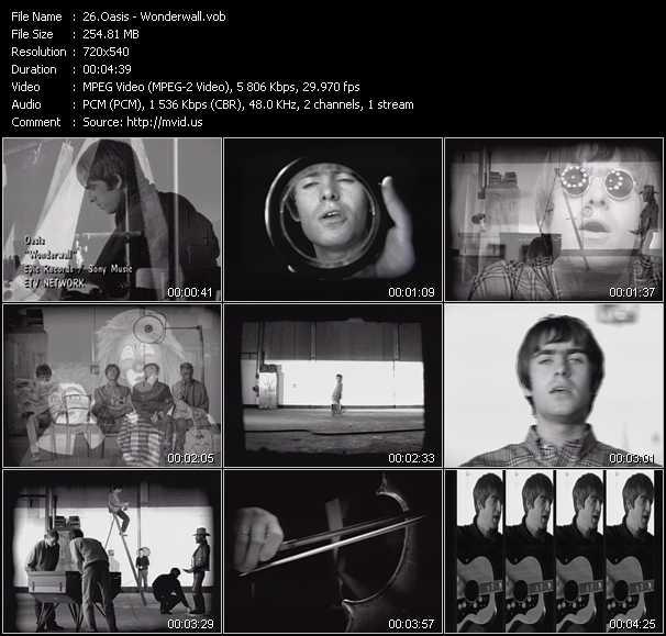 download Oasis « Wonderwall » video vob