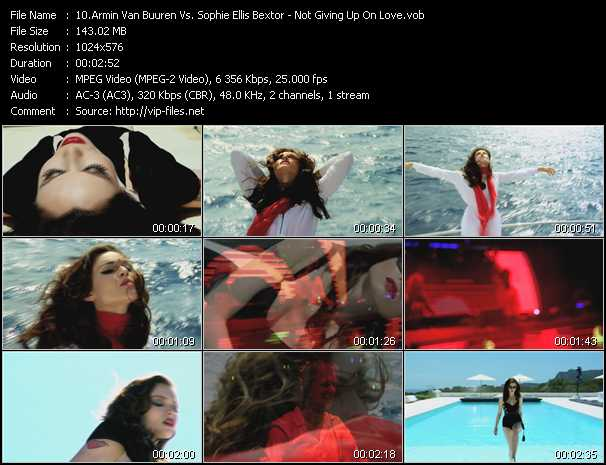 download Armin Van Buuren Vs. Sophie Ellis-Bextor « Not Giving Up On Love » video vob