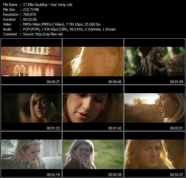 download Ellie Goulding « Your Song » video vob