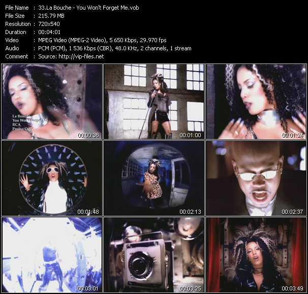 download La Bouche « You Won't Forget Me » video vob
