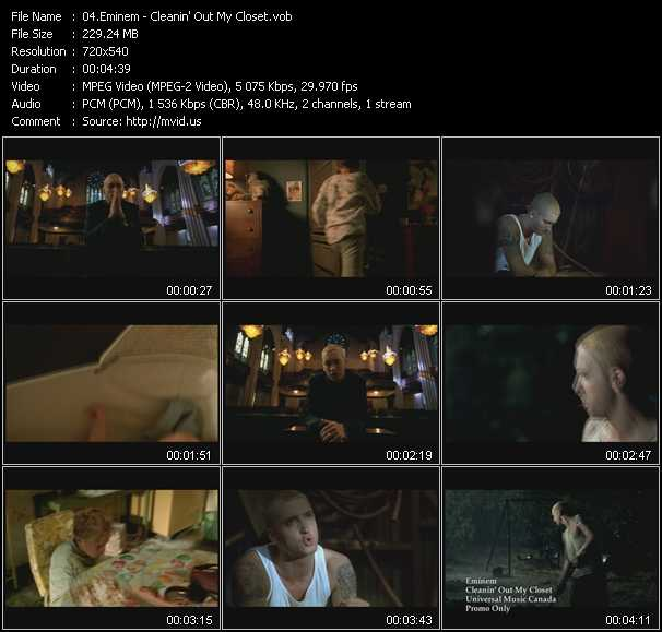 download Eminem « Cleanin' Out My Closet » video vob