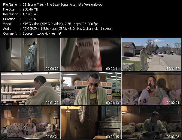 download Bruno Mars « The Lazy Song (Alternate Version) » video vob