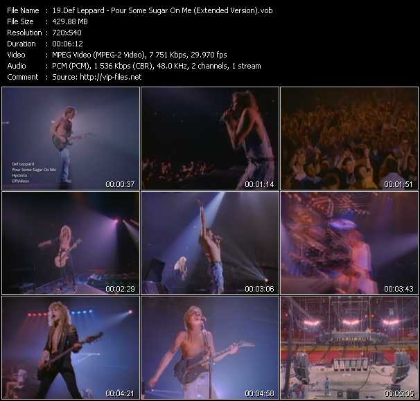 download Def Leppard « Pour Some Sugar On Me (Extended Version) » video vob