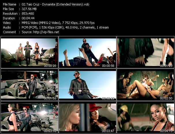 download Taio Cruz « Dynamite (Extended Version) » video vob