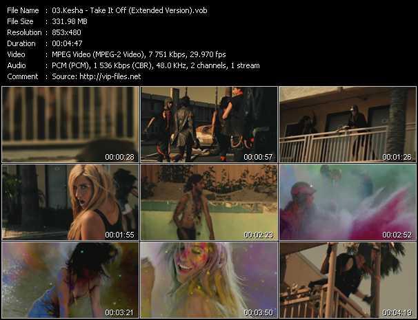 download Kesha « Take It Off (Extended Version) » video vob