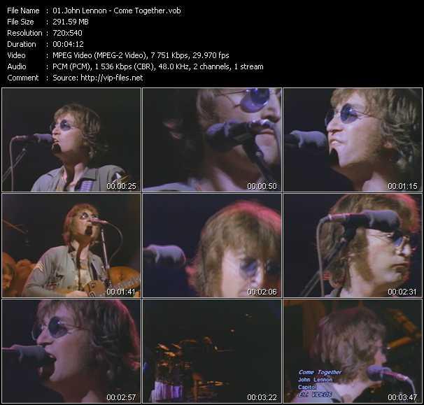 download John Lennon « Come Together » video vob