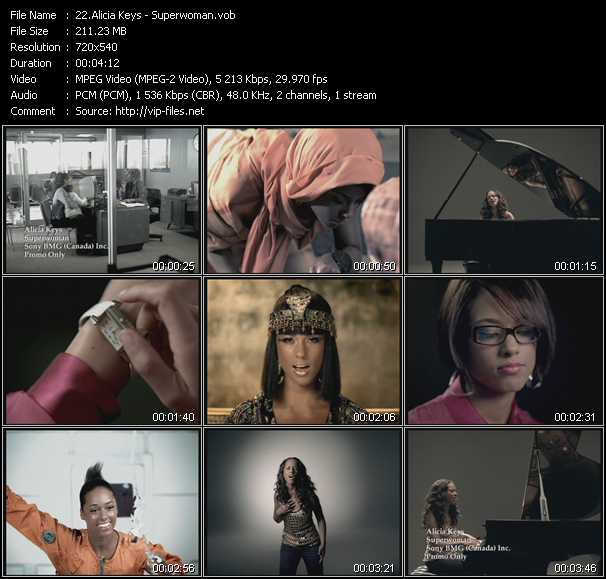download Alicia Keys « Superwoman » video vob