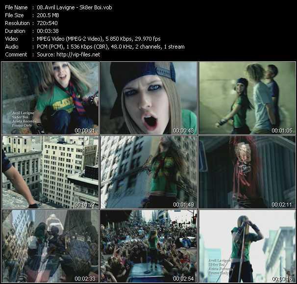 download Avril Lavigne « Sk8er Boi » video vob