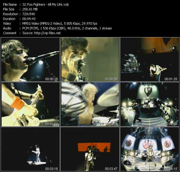 download Foo Fighters « All My Life » video vob