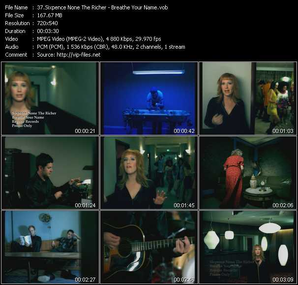 download Sixpence None The Richer « Breathe Your Name » video vob